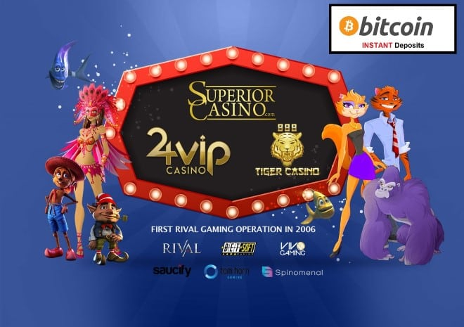 Instant Bitcoin Deposits at Superior Casino, 888Tiger and 24VIP